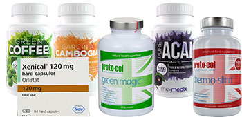 Collection of diet pill products
