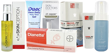 Acne products including Duac and Dianette